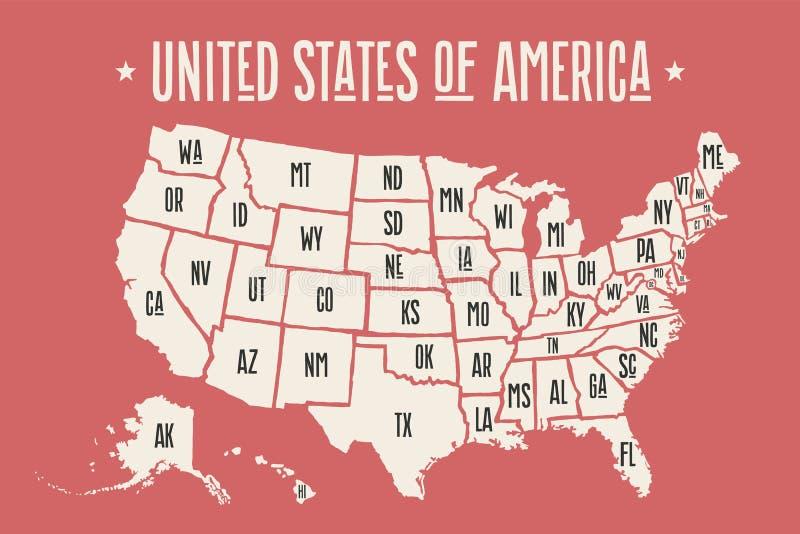 Mapa los Estados Unidos de América del cartel con nombres del estado stock de ilustración