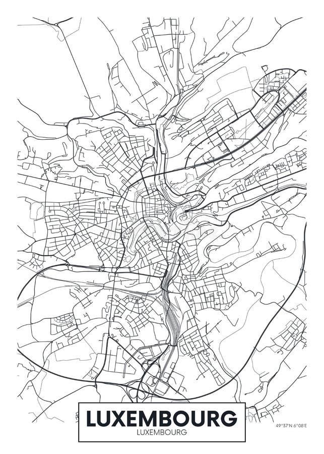 Mapa Luxemburgo, diseño de la ciudad del cartel del vector del viaje stock de ilustración