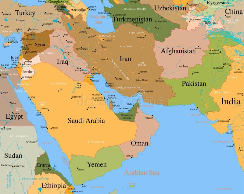 Mapa Médio Oriente - detalhado ilustração do vetor