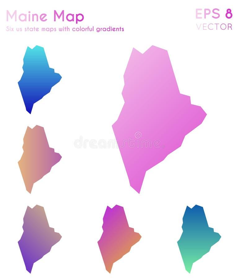 Mapa Maine z pięknymi gradientami royalty ilustracja