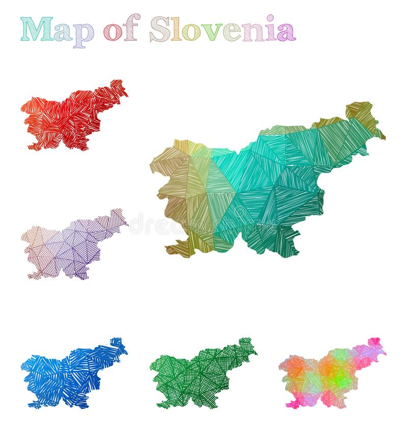 Mapa a mano de Eslovenia libre illustration