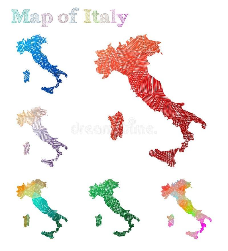 Mapa a mano de Italia ilustración del vector