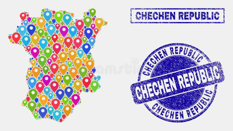 Mapa markierów kolaż Czeczeńska republiki mapa i Textured znaczki ilustracji
