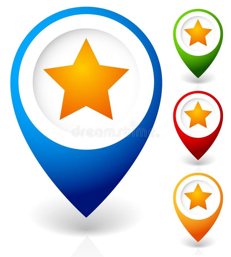 Mapa markier z gwiazdą Ulubiony miejsce, lokacja przygotowywa ikonę royalty ilustracja