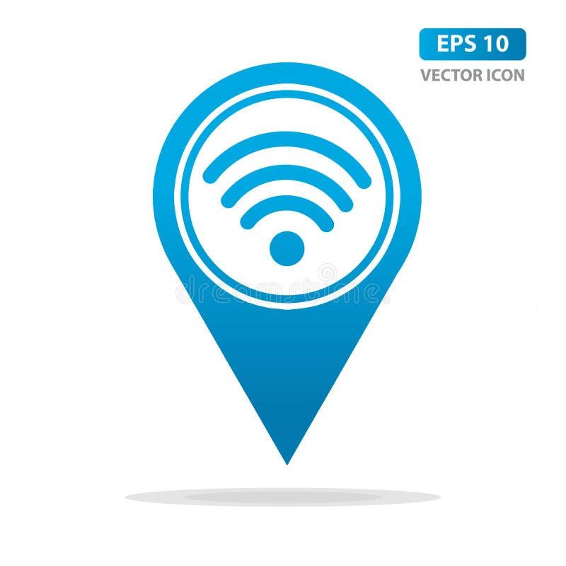 Mapa markier z Wifi sygnału ikoną, mapy szpilka, GPS lokacji symbol, wifi strefy związek Wektorowy tło royalty ilustracja