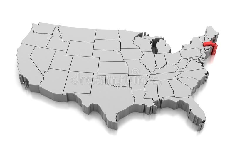 Mapa Massachusetts stan, usa royalty ilustracja