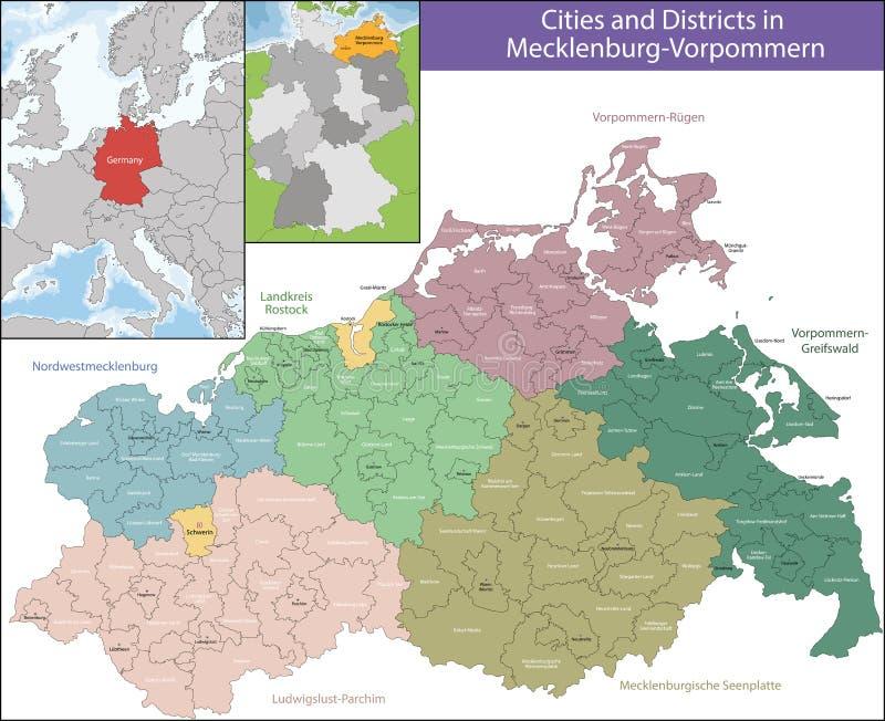 Mapa Mecklenburg-Vorpommern ilustracja wektor