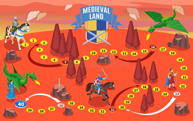 Mapa medieval del juego de sociedad ilustración del vector