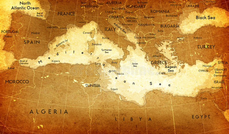 Mapa mediterrâneo velho ilustração do vetor