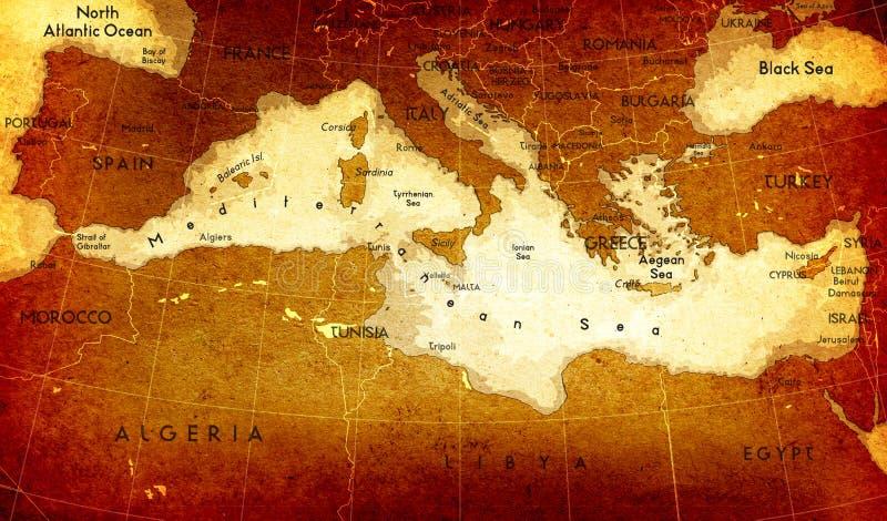 Mapa mediterrâneo velho ilustração royalty free