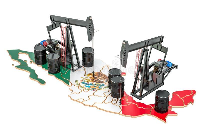 Mapa mexicano com tambores de óleo e pumpjacks Conce da produção de petróleo ilustração stock