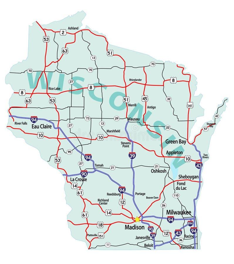 mapa międzystanowy stan Wisconsin ilustracja wektor