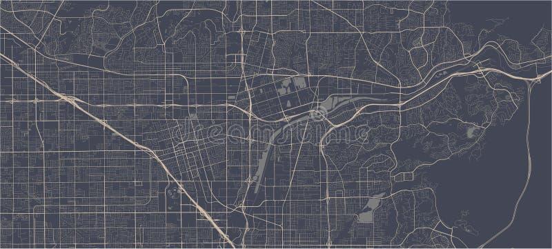 Mapa miasta Anaheim, Kalifornia, USA obraz stock