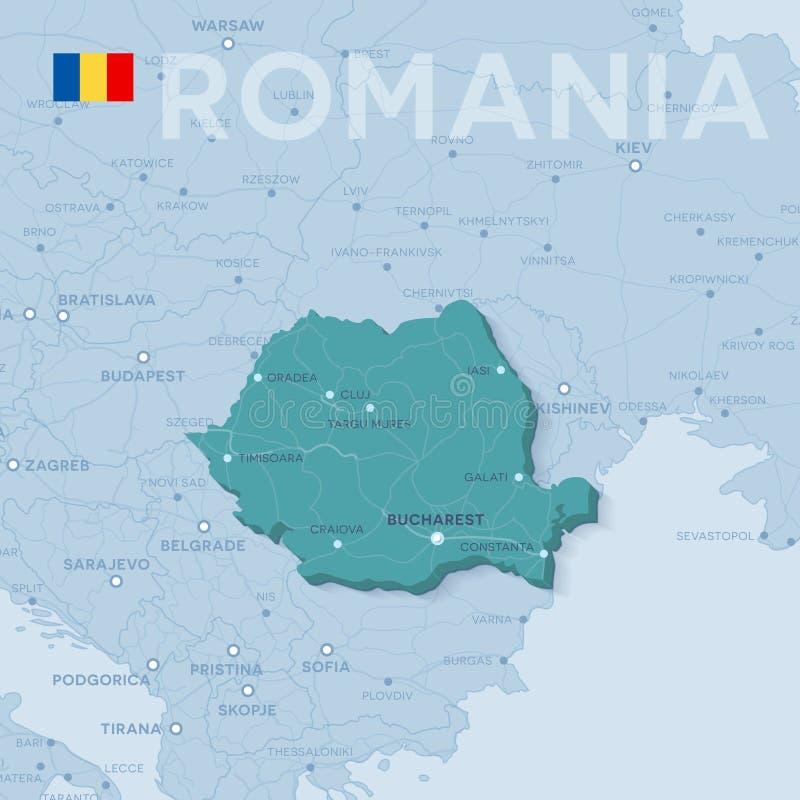 Mapa miasta i drogi w Rumunia ilustracji