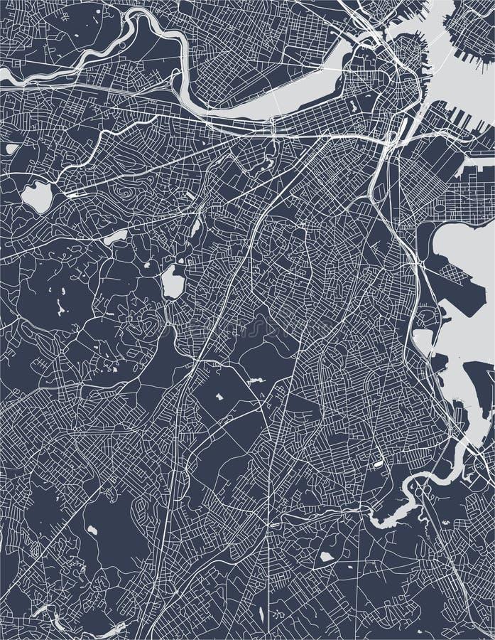 Mapa miasto Boston, usa obraz stock