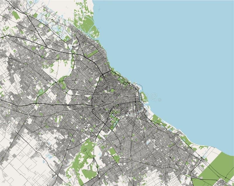 Mapa miasto Buenos Aires, Argentyna ilustracja wektor