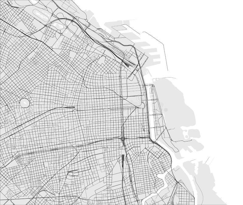 Mapa miasto Buenos Aires, Argentyna ilustracji