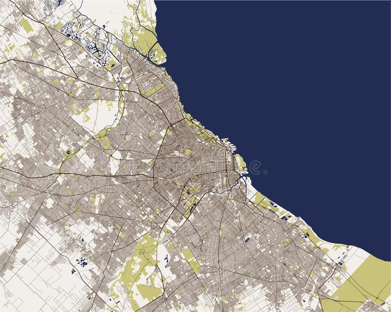 Mapa miasto Buenos Aires, Argentyna royalty ilustracja
