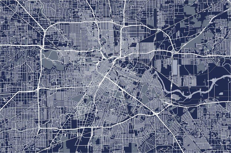 Mapa miasto Houston, U S stan Texas usa royalty ilustracja