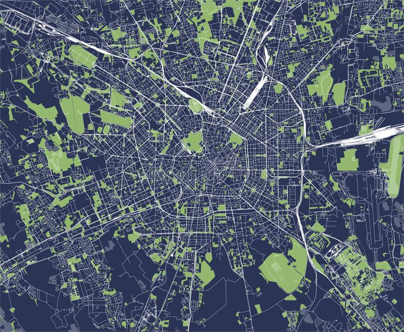Mapa miasto Mediolan, kapitał Lombardy, Włochy ilustracja wektor