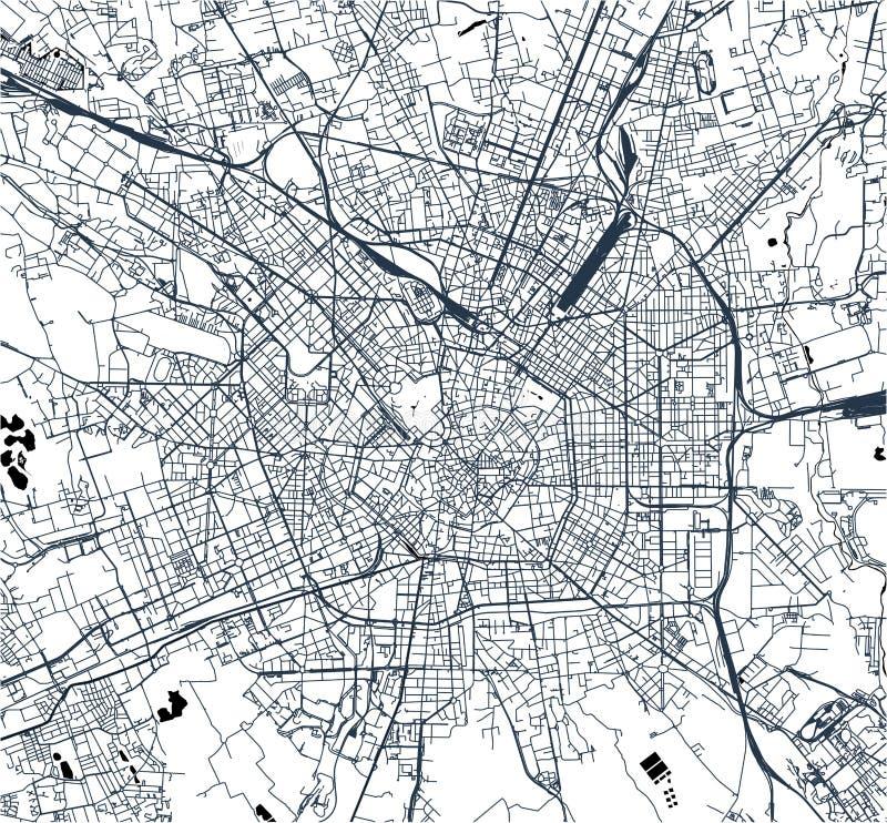 Mapa miasto Mediolan, kapitał Lombardy, Włochy ilustracji