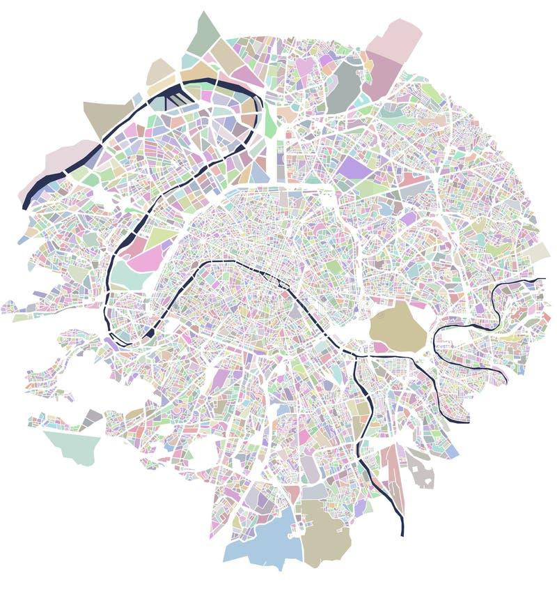 Mapa miasto Paryż, Francja ilustracja wektor