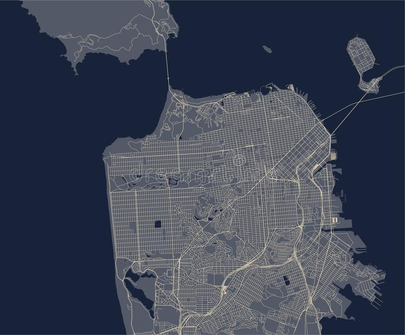 Mapa miasto San Fransisco, usa royalty ilustracja