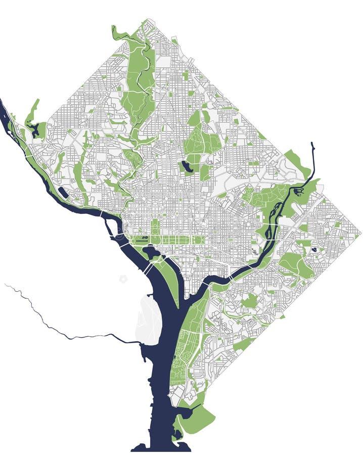 Mapa miasto Waszyngton, d C , USA royalty ilustracja