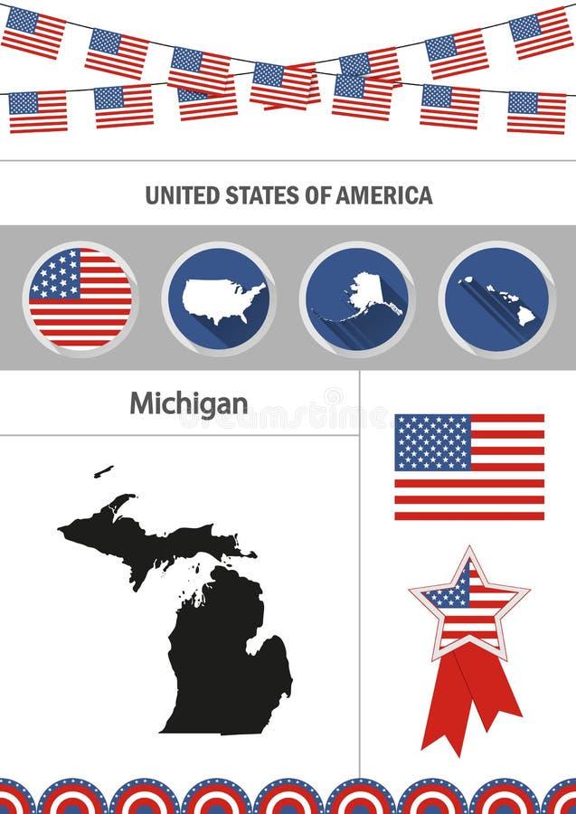 Mapa Michigan Set płascy projekt ikon nfographics elementy w ilustracji