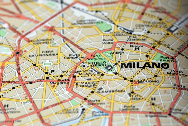 mapa Milan fotografia stock