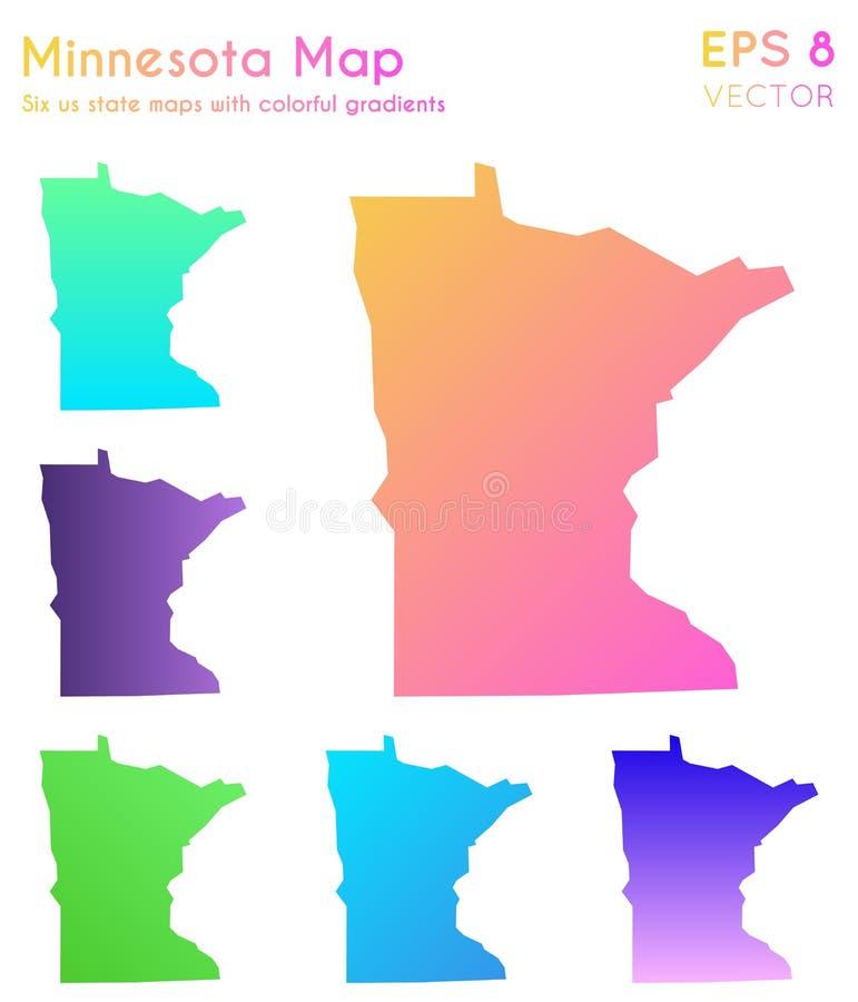 Mapa Minnestoa z pięknymi gradientami ilustracji