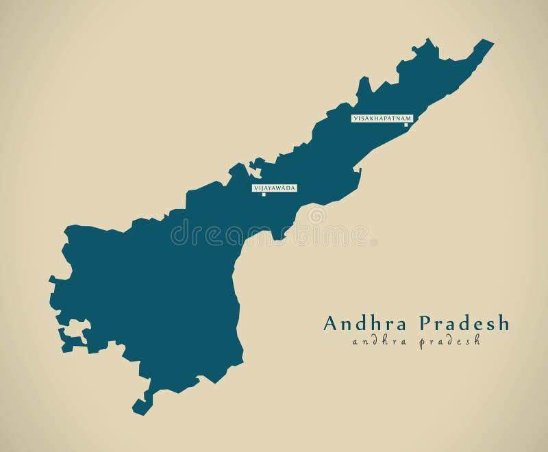 Mapa moderno - Andhra Pradesh na ilustração do estado federal da Índia ilustração stock