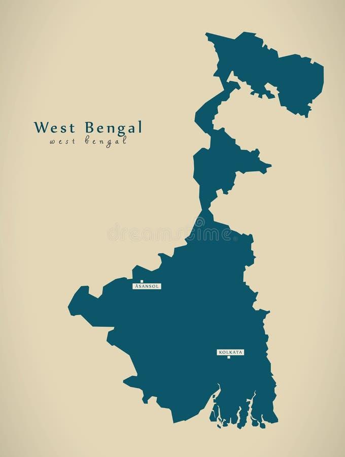 Mapa moderno - Bengal ocidental na ilustração do estado federal da Índia ilustração royalty free