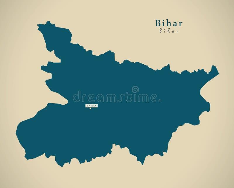 Mapa moderno - Bihar na ilustração do estado federal da Índia ilustração do vetor