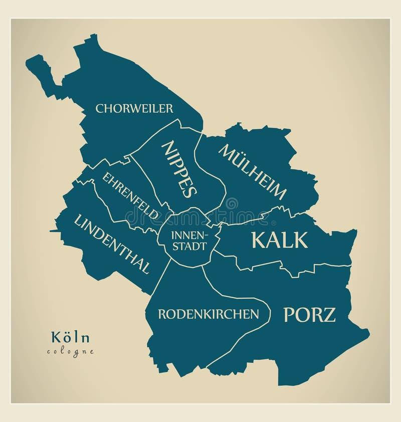 Mapa moderno - cidade da água de Colônia de Alemanha DE ilustração stock