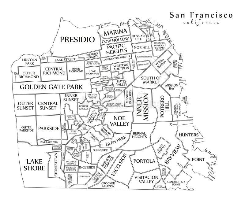 Mapa moderno - ciudad de San Francisco de los E.E.U.U. stock de ilustración