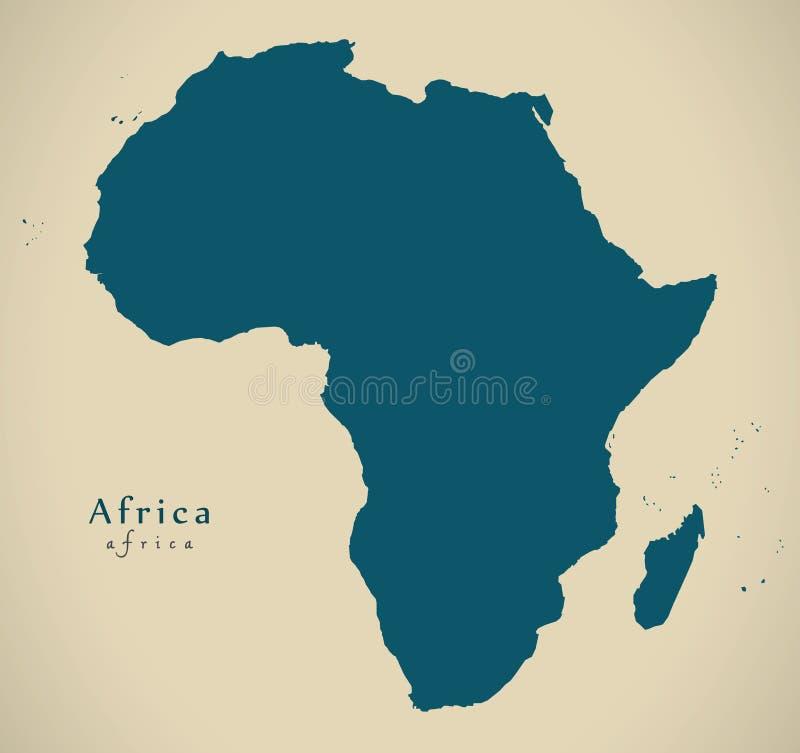 Mapa moderno - continente de África completo stock de ilustración