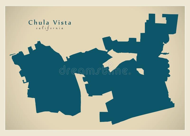 Mapa moderno da cidade - cidade de Chula Vista Califórnia dos EUA ilustração do vetor