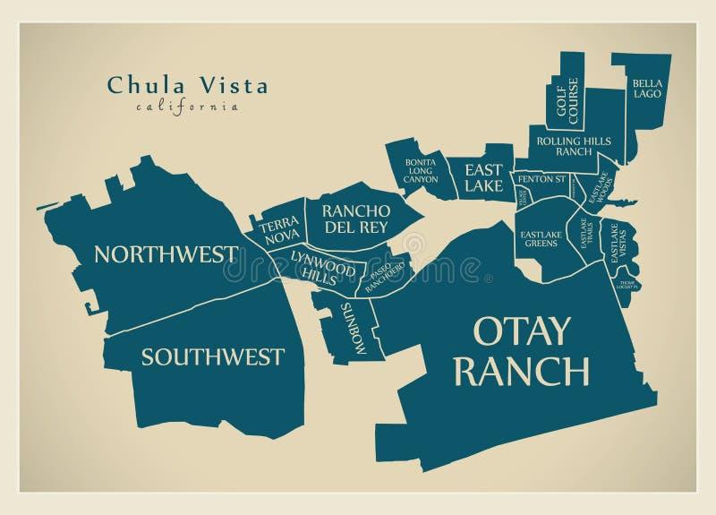 Mapa moderno da cidade - cidade de Chula Vista Califórnia dos EUA com ne ilustração stock