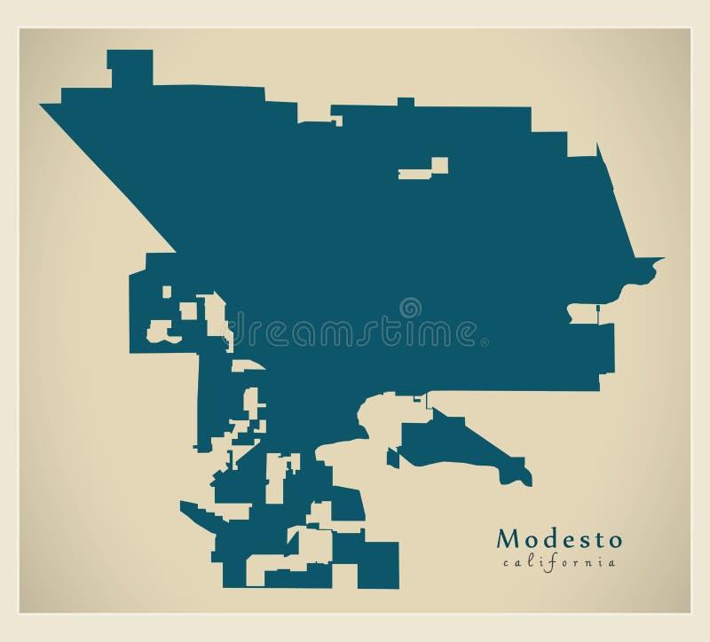 Mapa moderno da cidade - cidade de Modesto California dos EUA ilustração do vetor