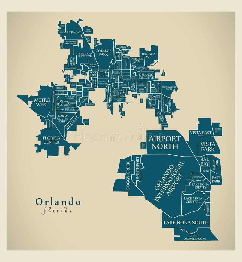 Mapa moderno da cidade - cidade de Orlando Florida dos EUA com neighborh ilustração stock