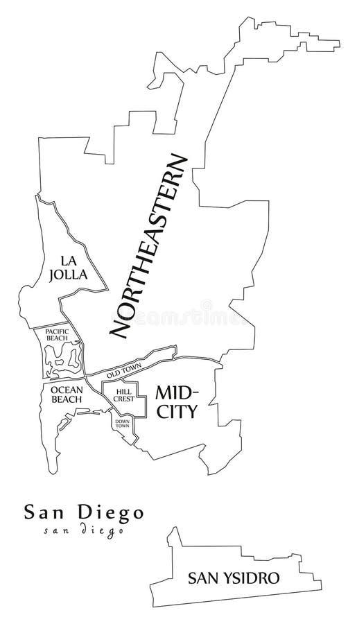 Mapa moderno da cidade - cidade de San Diego dos EUA com cidades e si ilustração stock
