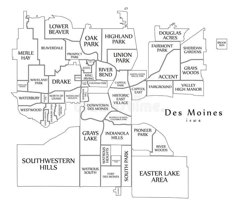 Mapa moderno de la ciudad - Des Moines Iowa City de los E.E.U.U. con el mapa del esquema de las vecindades y de los títulos ilustración del vector
