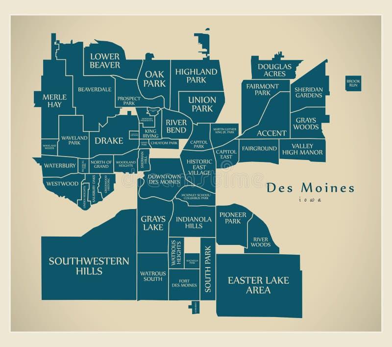 Mapa moderno de la ciudad - Des Moines Iowa City de los E.E.U.U. con las vecindades y los títulos ilustración del vector