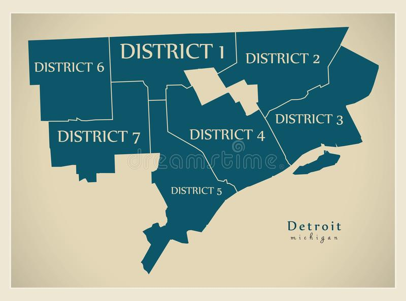 Mapa moderno de la ciudad - ciudad de Detroit Michigan de los E.E.U.U. con el distrito stock de ilustración
