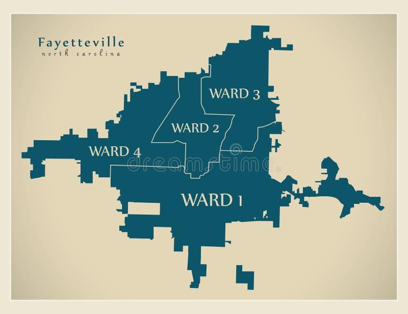 Mapa moderno de la ciudad - ciudad de Fayetteville Carolina del Norte de los E.E.U.U. con las salas y los títulos libre illustration