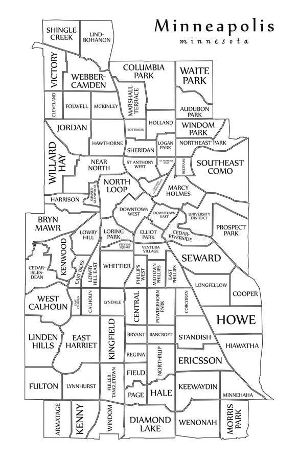 Mapa moderno de la ciudad - ciudad de Minneapolis Minnesota de los E.E.U.U. con los NEI stock de ilustración