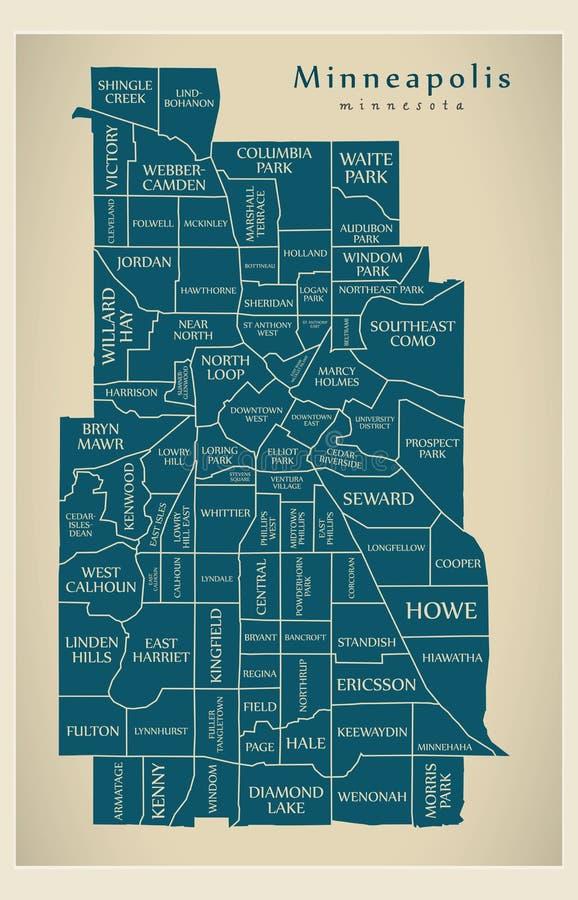 Mapa moderno de la ciudad - ciudad de Minneapolis Minnesota de los E.E.U.U. con los NEI ilustración del vector