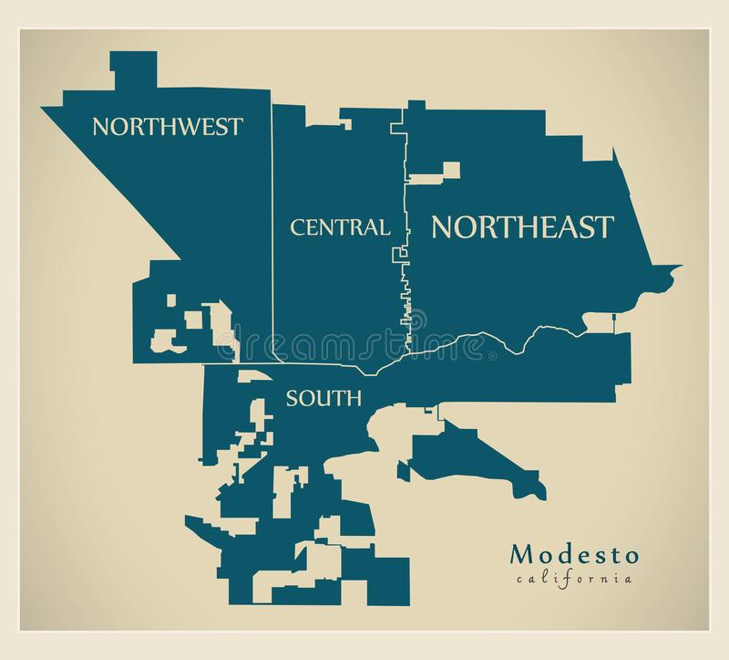 Mapa moderno de la ciudad - ciudad de Modesto California de los E.E.U.U. con las vecindades y los títulos stock de ilustración