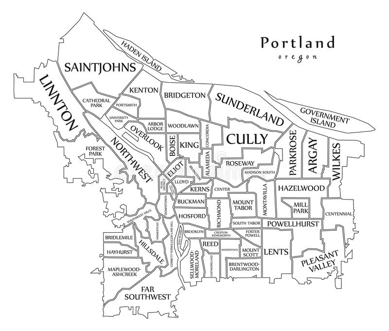Mapa moderno de la ciudad - ciudad de Portland Oregon de los E.E.U.U. con el neighborh ilustración del vector